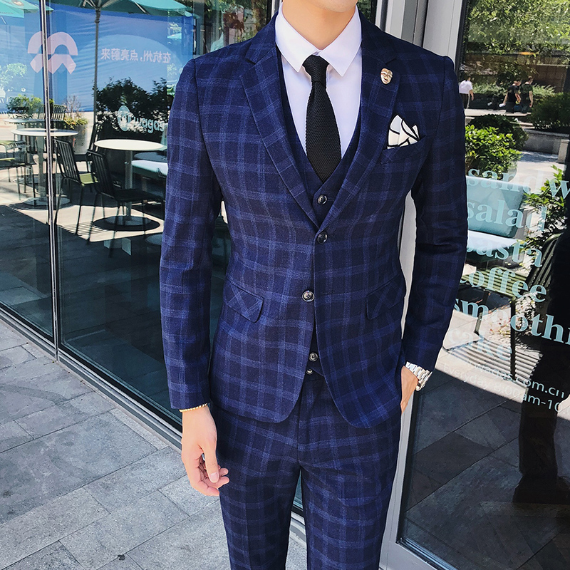 3 Pieces Mens Suits Plaid Slim Fit Wedding Suits Groom Tweed Wool Tuxedos for Wedding (Jacket+Pants+Vest)