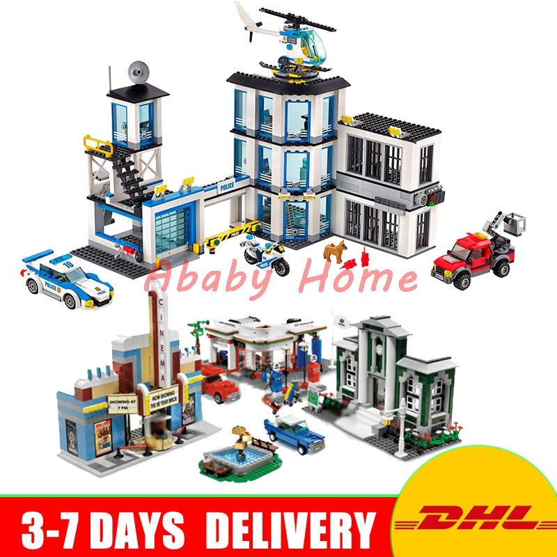 DHL Lepin City Series 02020 Police Station+02022 50th Anniversary Town Educational Building Blocks Bricks Model Toys 60141 10184 965pcs city police station model building blocks 02020 assemble bricks children toys movie construction set compatible with lego