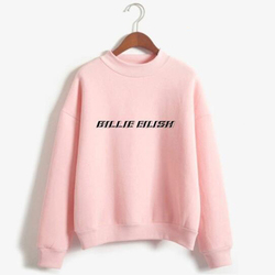 New Fashion Billie Eilish Pink Hoodie Women Long Sleeve Turtleneck Sweatshirt K-POP Hip Hop Pullover Jumper Harajuku Tracksuit 1