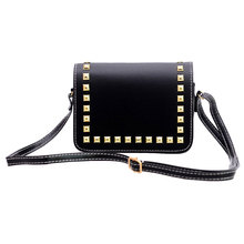 Fashion font b Women b font Small PU Leather Messenger Bags Rivet Crossbody Shoulder Bags Female