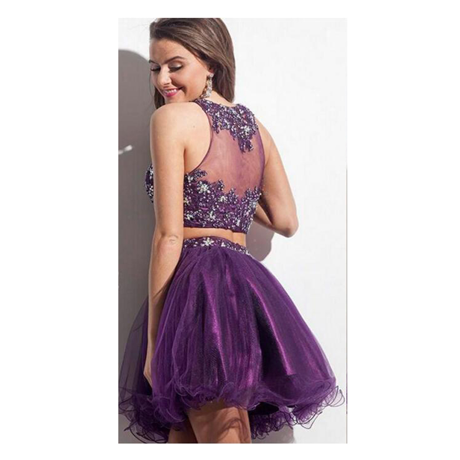 Vestidos De Festa Custom Made Purple See Through 2 Piece Applique ...