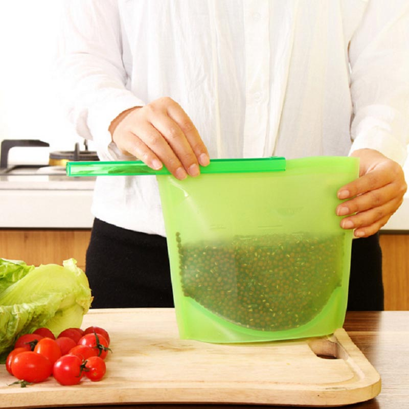 Reusable Silicone Food Fresh Bags Fridge Food Storage Containers Refrigerator Sealed Bag Kitchen Vegetable Fruits Ziplock Bags-in Bags u0026 Baskets from Home ... & Reusable Silicone Food Fresh Bags Fridge Food Storage Containers ...