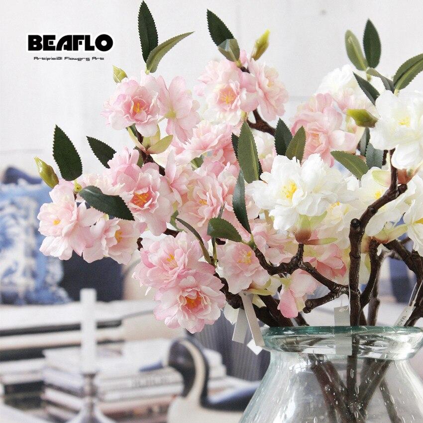 1 ADET Mini Canlı Yapay Çiçek Kiraz Çiçeği Sakura Çift - Tatiller ve Partiler Için - Fotoğraf 3