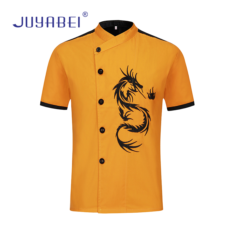 Women Men  Unisex Short-sleeved Fashion Dragon Embroidery Kitchen Catering Restaurant Hotel Uniforms Shirts Chef Clothes