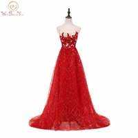 Walk Beside You Red Prom Dresses Long Sequined Bling Evening Gowns Lace Applique Graduation Dresses Cheap
