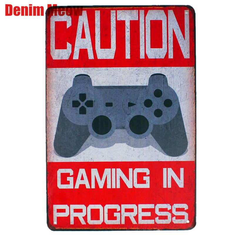 CAUTION Gaming In Progress Vintage Metal Plates Cafe Bar Pub Club Home Wall Decor Tin Signs Retro Plaque Gift for Kids N150