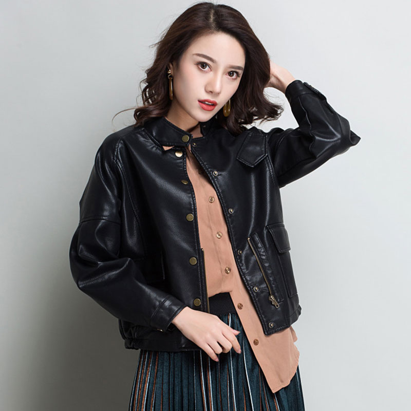 Lusumily   Leather   Jacket Women Casual Long Sleeve Button Slim Coat 2019 Spring Autumn Fashion Pu   Leather   Bomber Jackets Outerwear