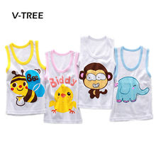 Children vest 2-8 year Baby summer boy tanks t-shirt solid color Girl Cotton tank sleeveless kids cartoon beach clothes(China)