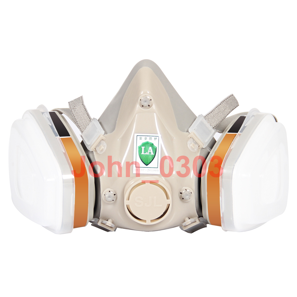 7 Pcs Suit 6200 Respirator Gas Mask Painting Spraying Half Face (Support 3M Filter) 3m 7502 7piece suit respirator painting spraying face gas mask half face mask for construction mining