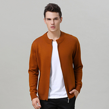 ATTYYWS Winter new mens half-high collar zipper sweater cardigan cashmere jacket warm knit solid color