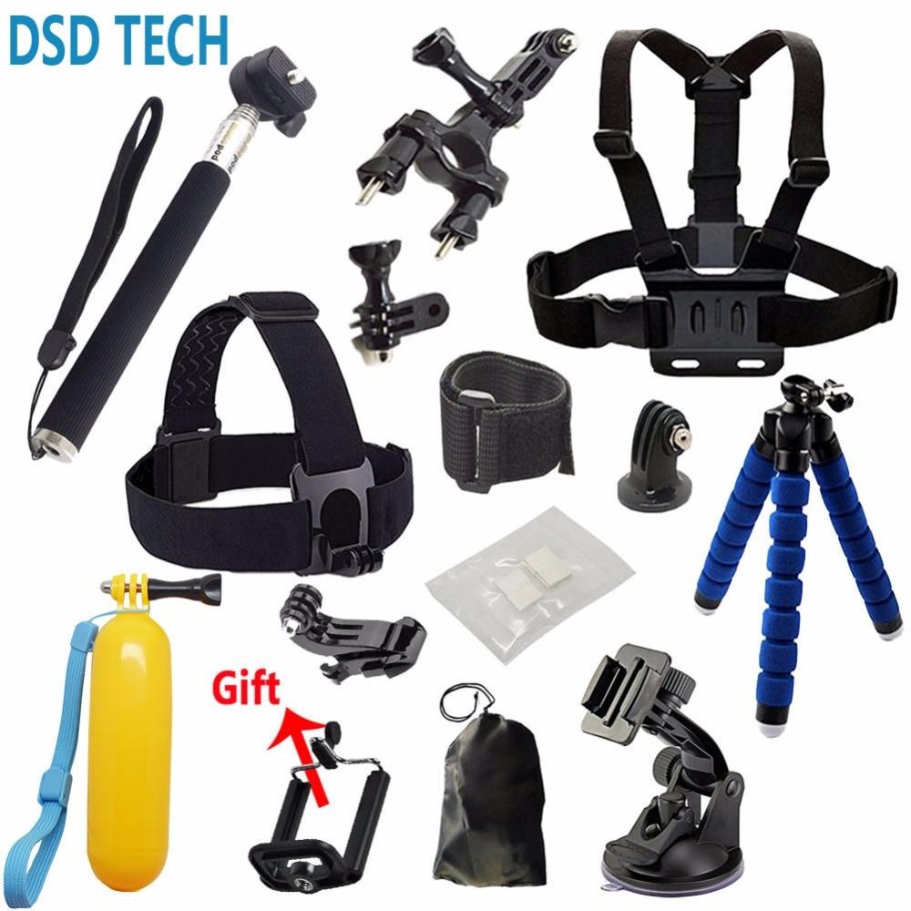 Gopro accessories Set tripod monopod Chest Belt Head Mount Strap For Go pro hero4 3 5 Black Edition set   For SJCAM EKEN H8 H9