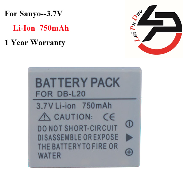 US $7 45  High Quality 750mAh Brand New Replacement Battery For Sanyo DB  L20 C40 J4 E6 E7 CA6 CA8 CA65 CG65 CG9-in Digital Batteries from Consumer