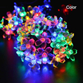 Solar string lights waterproof lamps 7M 50led 4 colors Peach Flower outdoor new fariy Christmas Garden decoration lighting LH