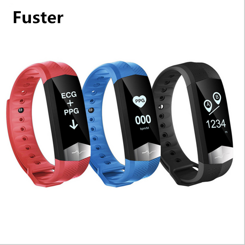 Fuster Graphite ECG and PPG chip Smart Bracelet support Whatsapp Facebook Twitter Call SMS Reminder Smart