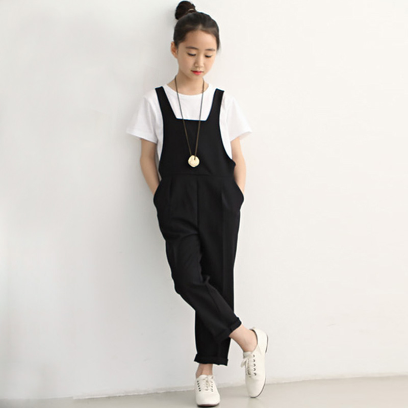 2017 New Fashion Girls Jumpsuits Children Black Vest Sleeveless Girl Outfit Casual Summer Kids Overall DQ326