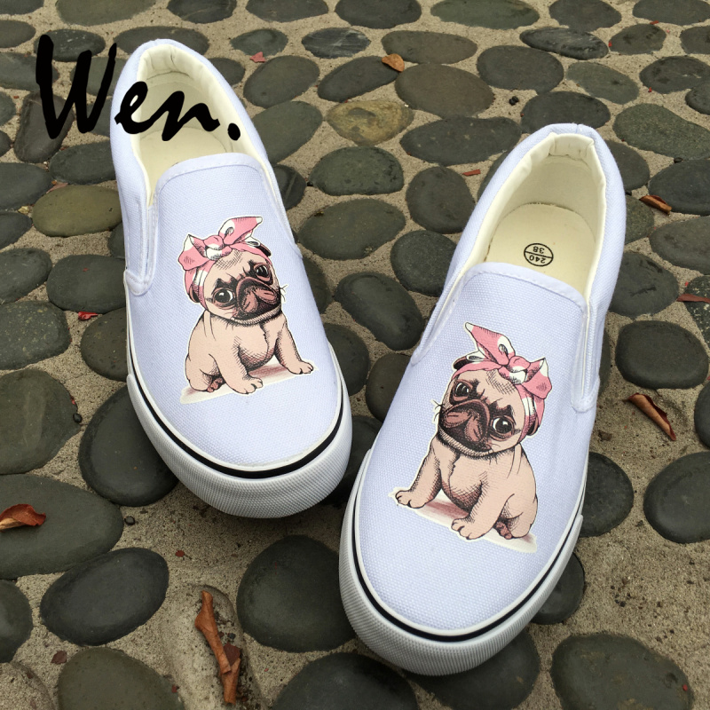 Canvas Shoes Trainers Kids to Adults Hand Customised with Pug Dog Fabric .