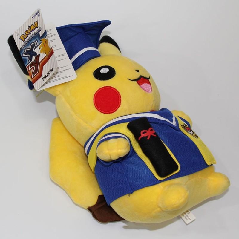Kawaii Graduation Pikachu Cos Pokeball Cloth Plush Toys Soft Stuffed Animal Dolls for Children\'s Gift 13inch 32cm 2 Styles (13)
