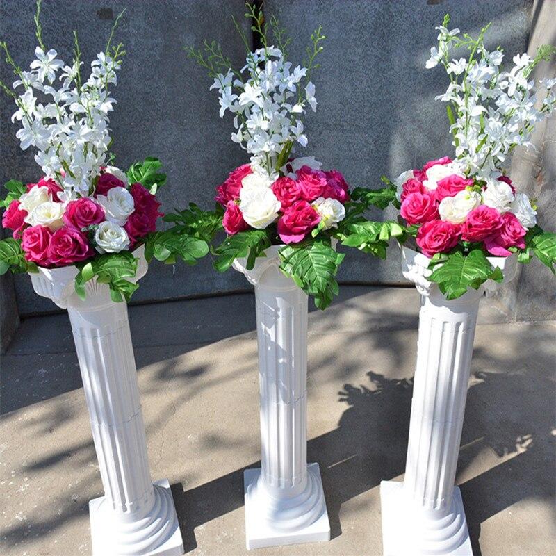 Livraison gratuite colonne romaine blanche avec des ensembles de fleurs de Rose artificielle allée de mariage coureur stade décoration piliers accessoires fournitures - 2