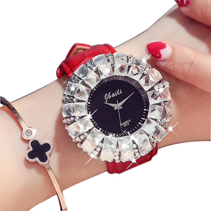 New Fashion Dress Womens Watches Big Rhinestone Quartz Wrist Watch Ladies 2017 Luxury Top Brand Geneva Watch Hodinky Women Gifts