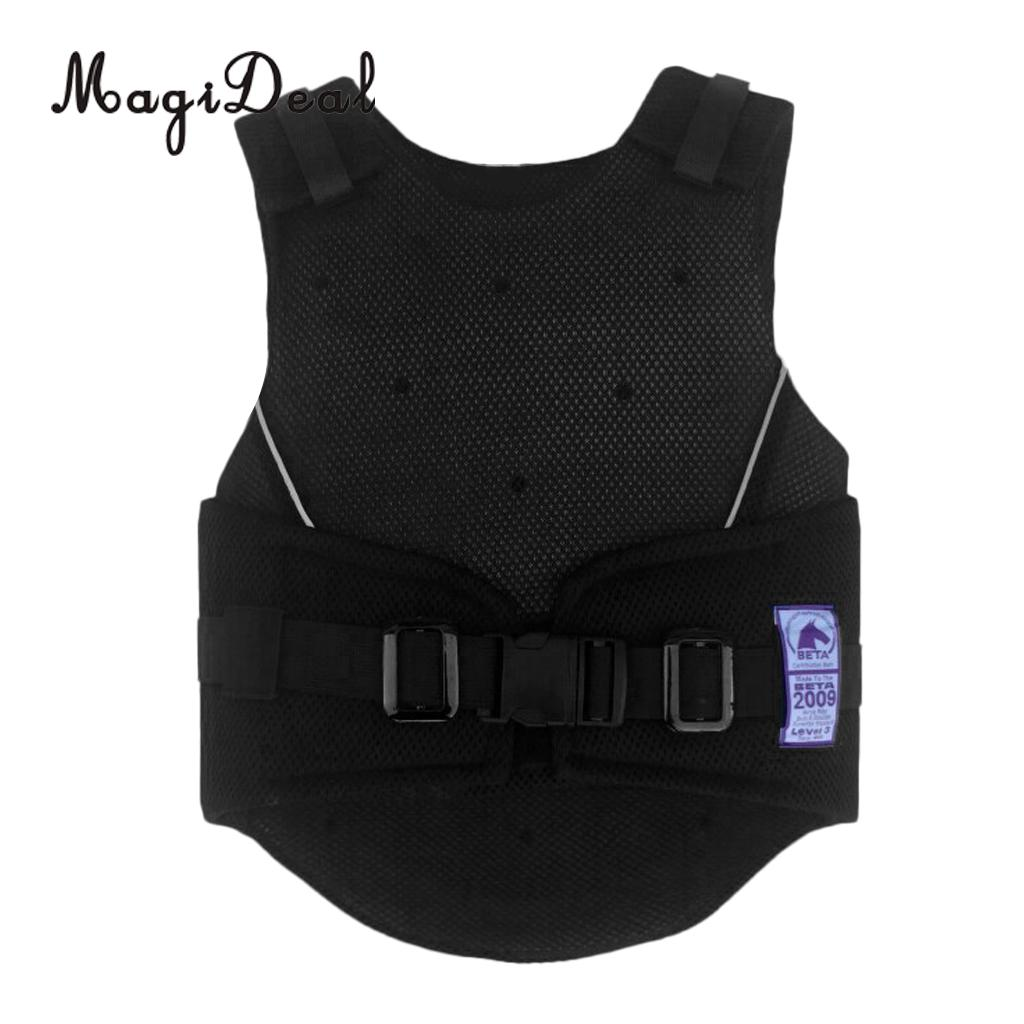 MagiDeal Kids Children Shock Absorption Adjustable Equestrian Horse Riding Vest Protective Waistcoat Body Protector S M L eva horse riding waistcoat safe equestrian eventer body protection vest for women men kids riding armor protector vest 3 colors