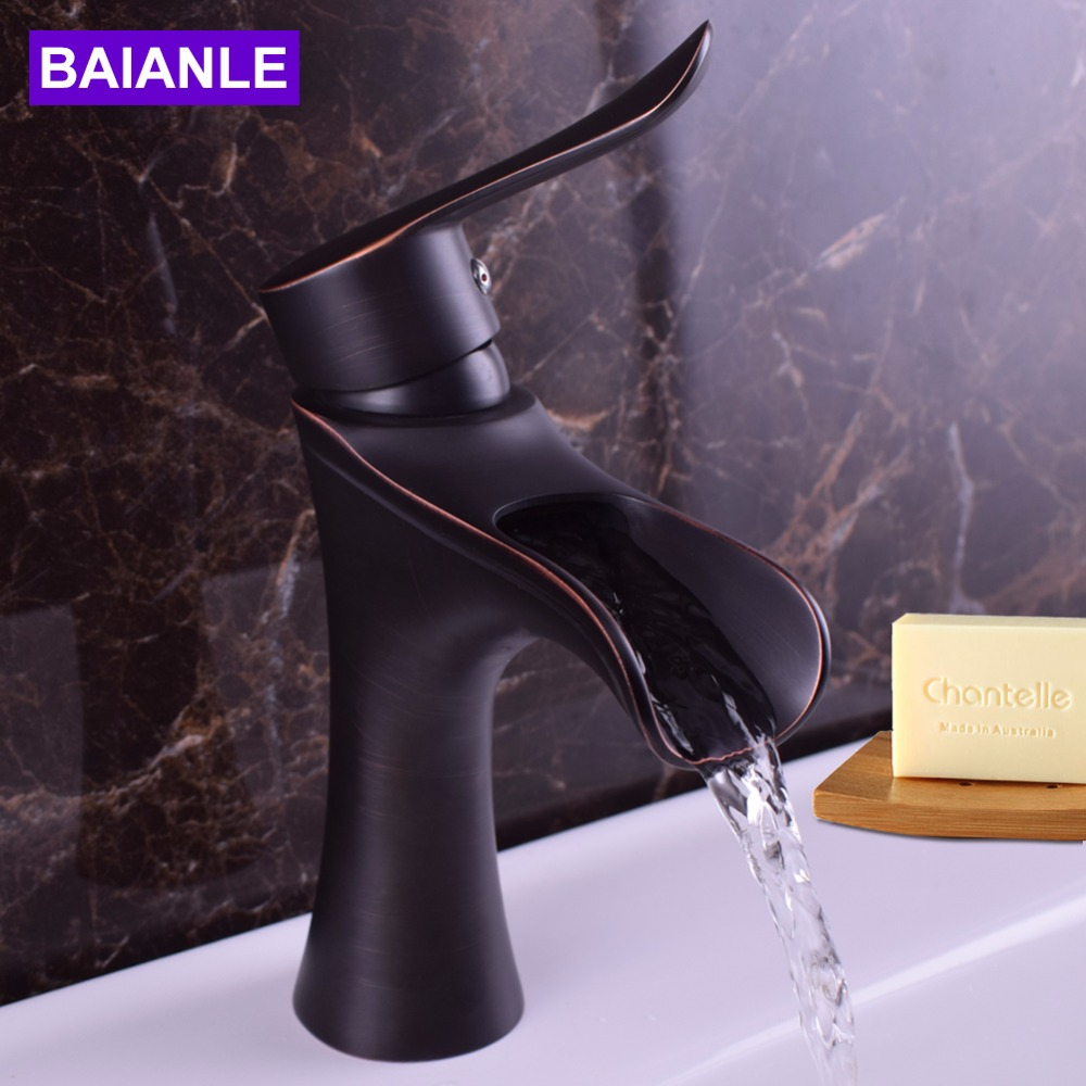 Creative Design Black/ORB Basin Faucet Deck-mounted Single Hole Hot and Cold Water Sink Faucet Bath Accessories Tap Mixer micoe hot and cold water basin faucet mixer single handle single hole modern style chrome tap square multi function m hc203