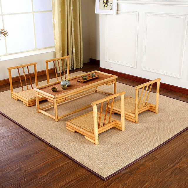 180x180cm Bamboo Carpet Rugs Square Floor Carpet Soft Living Room Japanese Style  Modern Large Rug Mat