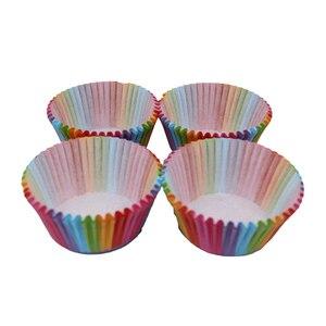 Image 5 - Assadeira de arco íris para cozinha, 100 peças, copo de bolo, papel para cupcake, bandeja para festas, suporte, forros de cupcake, festa de casamento