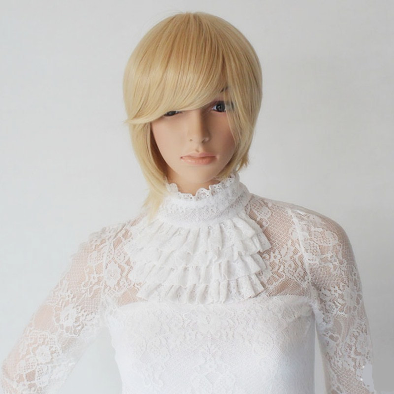 Blonde cosplays bob Peluca lace front headwear For Woman Halloween Anime Costumes Purim Carnival Christmas Nightclub party dress