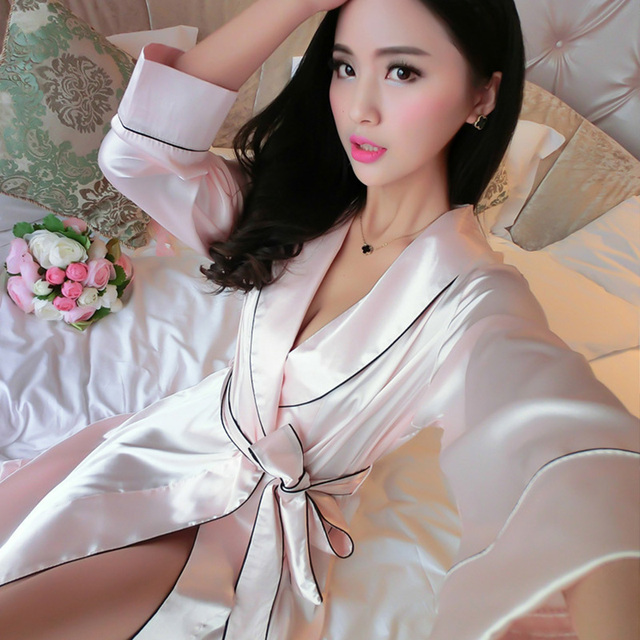 2016 Winter new bathrobe women full sleeve solid color robe sexy v neck M-XL ladies satin bath robe 3 colors