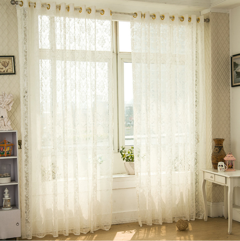 Finished Window Transparent Voile Curtains Panel Tulle Curtains Sheer Curtain