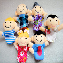 6pieces / Set of Finger Family Puppets Dolls Children Baby Cute Plush Dolls Finger Puppets Baby Education Hand Cartoon Kids Toys(China)