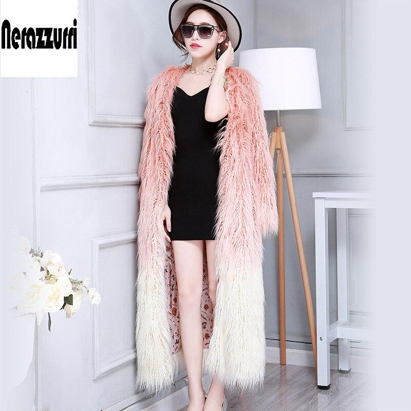 Nerazzurri Long Faux Fur Coat V-Neck Gradient Color Fashion Slim Shaggy Fluffy Hairy Mongolia Sheep Fur Overcoat 2018 New Winter