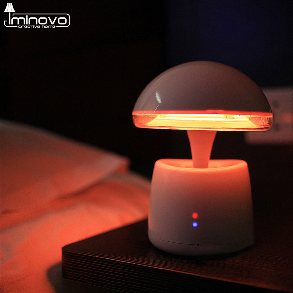 IMINOVO Led UFO Table Lamp Remote Magic Bluetooth Speaker Bedside Desk Lamps USB Rechargeable Touch Sensor Alarm FM Music Radio smart sensor ufo shape usb charging bedside led night light