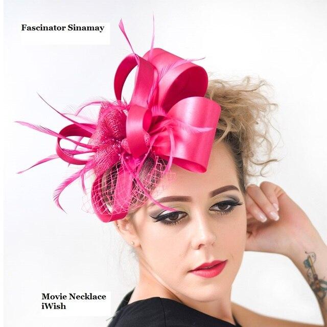 8f9444190b35a Brand Vintage Elegant Women Satin Sinamay Fascinators Wedding Party  Headband Bride Fascinator Hat Hairclip Hair Accessories