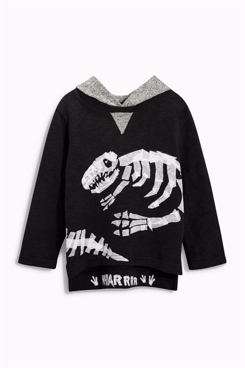 For Boys Hooded Sweater T-shirts Tops Clothing Autumn Winter New Dinosaur Fossil Printing Next Brand Full Sleeve Kids Clothes 07