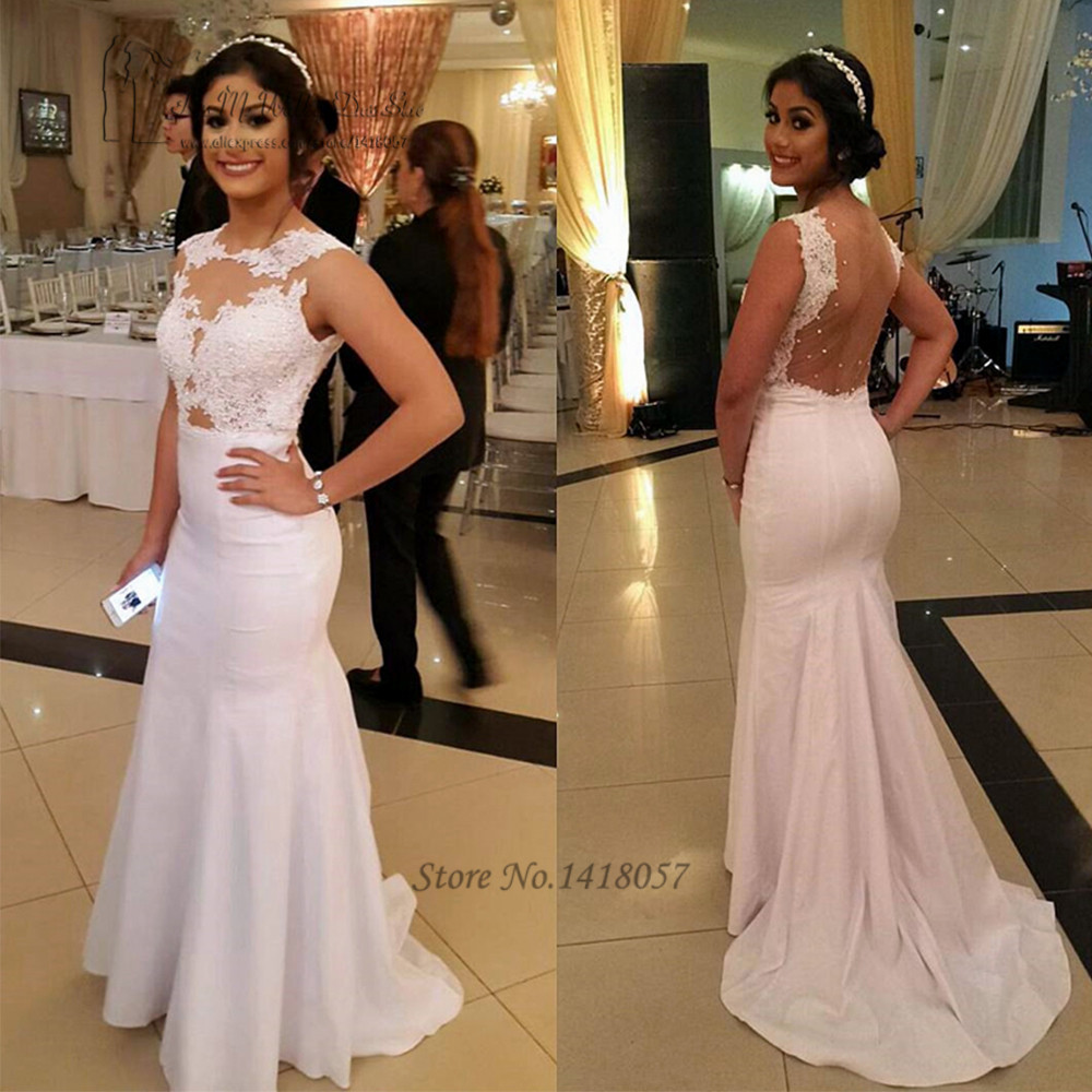 Vestidos De Festa White Long Mermaid Evening Dress Abiye Elbise Formal Arabic Evening Gowns Lace Backless Prom Dresses Avondjurk