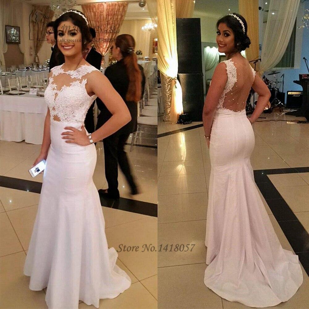 Vestidos de Festa White Long Mermaid   Evening     Dress   Abiye Elbise Formal Arabic   Evening   Gowns Lace Backless Prom   Dresses   Avondjurk