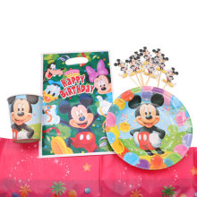Mickey Mouse Decoration Boys Children Party Gift Disposable Napkin Paper Plate Cup Tableware Sets Birthday Party Home Decoration(China)