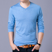 2017 Mens V Neck Basic Cotton Sweaters Pullovers Classic All Match Wear Standard Knitted Youth Shirt