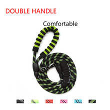 Double handle, round rope, multi-color reflective dog leash, comfortable medium to large size