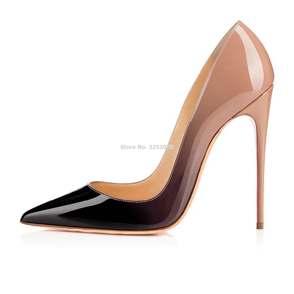 SalePirce Nude/Black Purple Gradient Color Patent Leather Pointed Toe Pumps Stiletto Heels 12cm Banquet Shoes Shallow Cut Pumps