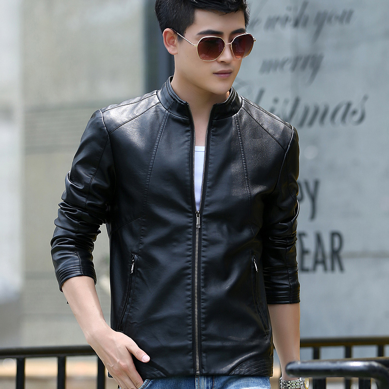 Male genuine leather jacket 2018 spring and autumn font b slim b font stand collar short