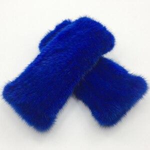 Image 3 - Winter Real Mink Fur Gloves Women Real Mink Fur Fingerless Gloves Women Fashion Elasticity Genuine Knitted Real Mink Fur Mittens