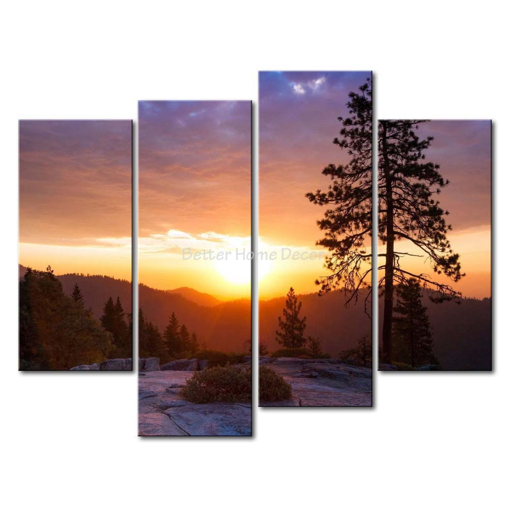 3 Piece Wall Art Painting Sunset Over The Mountain Range Tree Rock Print On Canvas The Picture Landscape 4 5 Pictures-in Painting u0026 Calligraphy from Home ...  sc 1 st  AliExpress.com & 3 Piece Wall Art Painting Sunset Over The Mountain Range Tree Rock ...