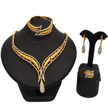Mode dubai gold schmuck set für frauen halskette sets gestüt ohrringe ring armband & bangle schmuck(China)