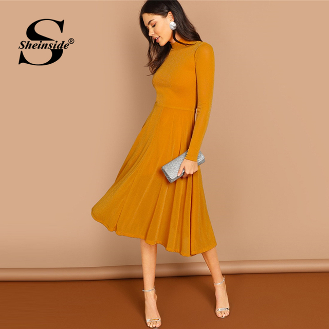 Sheinside Ginger Elegant Mock Neck Glitter Fit   Flare Dress Long Sleeve A Line  Dresses 2018 Autumn Women Party Long Dresses ebbf4f445372