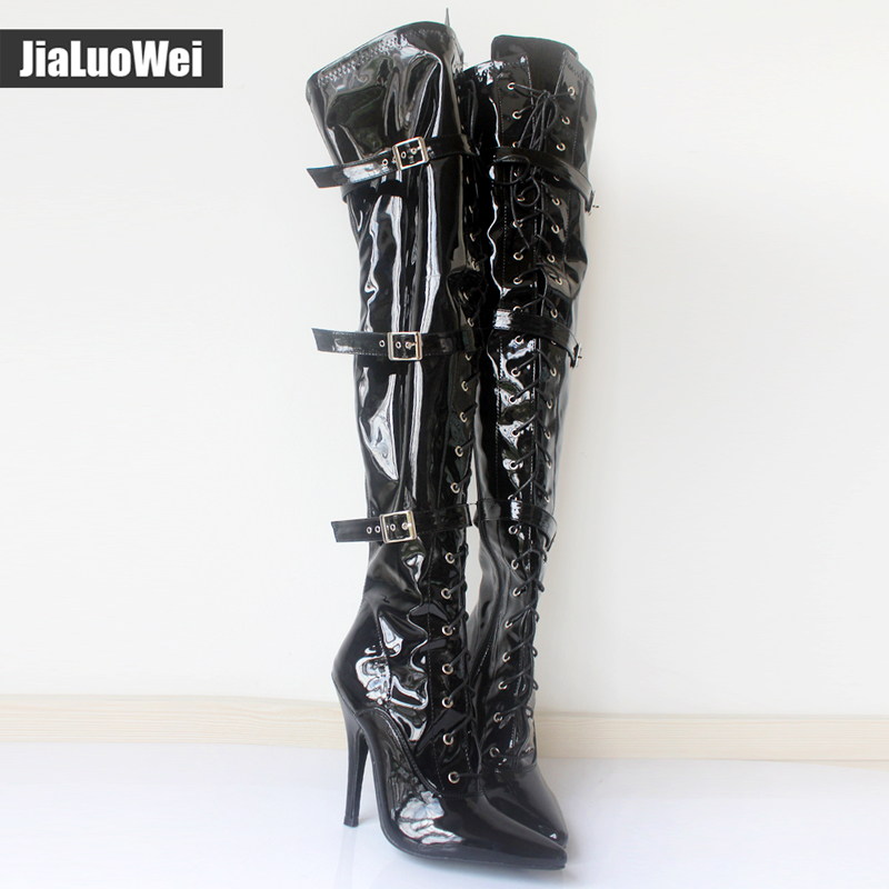 jialuowei Fashion 12cm high heel pointed toe Patent Leather Lace-Up Buckle Straps Sexy Fetish over-the-knee Unisex Boots jialuowei women sexy fashion shoes lace up knee high thin high heel platform thigh high boots pointed stiletto zip leather boots