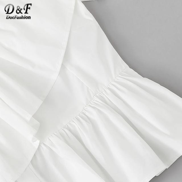 White Solid Ruffle Trim Asymmetrical Shoulder Top