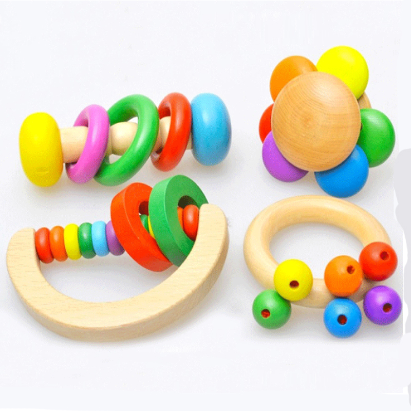 1pcs Hand-cranked Toy Musical Instruments Wooden Smooth Bed Bell Rattles Children Early Childhood Educational Baby Toys