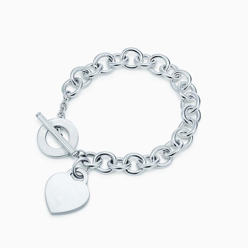 õPromoteTrendy Bracelet Jewelry TIFF Sterling-Silver Heart-Shape Women Key Rounded-Pendant Logo
